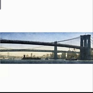 "NEW | 55 X 22"" CANVAS PANO - BROOKLYN BRIDGE NWT"